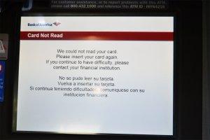 Bank of America Probleme beim abheben