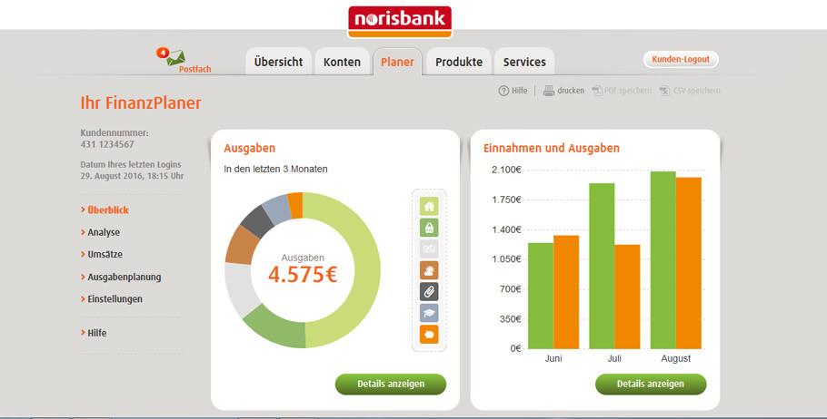 Norisbank Girokonto Finanzplaner