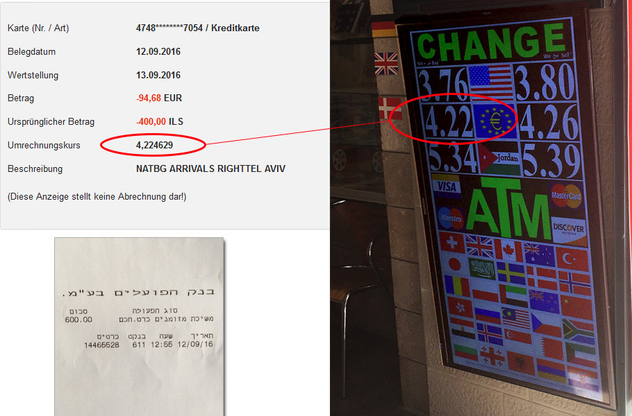 Geld abheben Israel DKB Kreditkarte